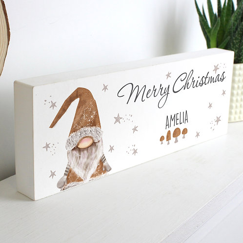 Personalised Scandinavian Christmas Gnome Wooden Block Sign (PMC)