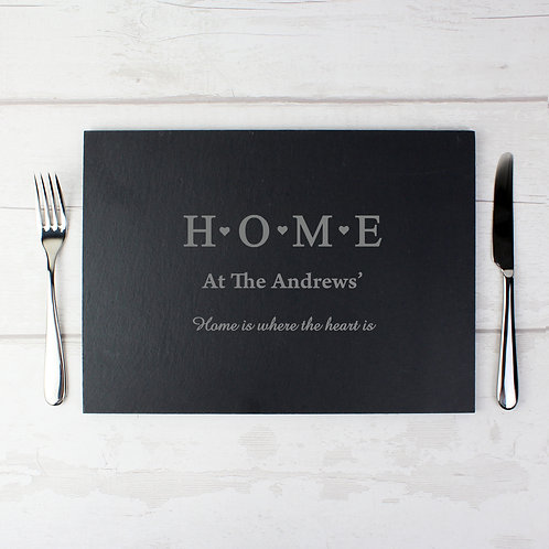Personalised HOME Slate Rectangle Placemat (PMC)