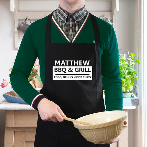 Personalised BBQ & Grill Black Apron (PMC)