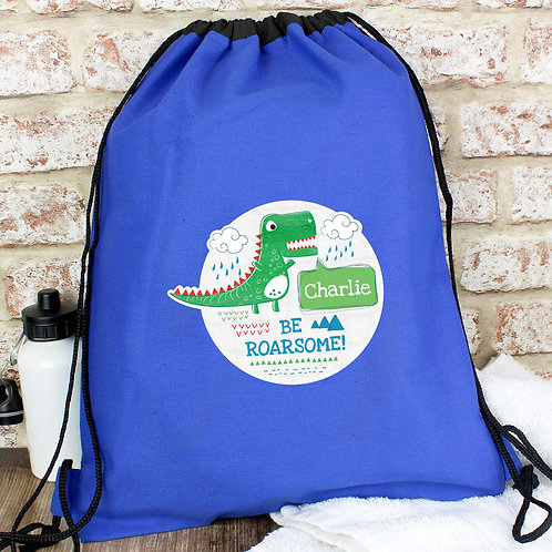 Personalised 'Be Roarsome' Dinosaur Swim & Kit Bag (PMC)