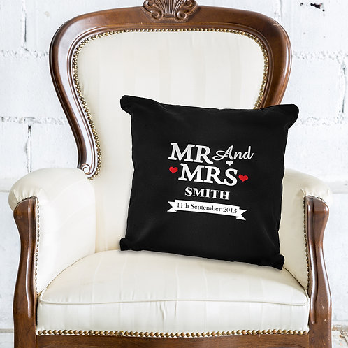Personalised Mr & Mrs Black Cushion Cover (PMC)