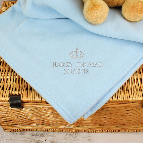 Personalised Blue Crown Baby Blanket (PMC)