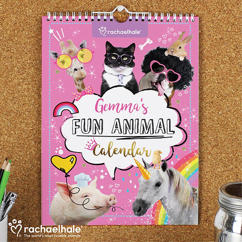 Personalised Rachael Hale Fun Animals A4 Wall Calendar (PMC)