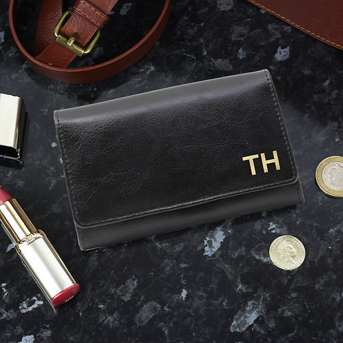 Personalised Gold Initials Black Purse (PMC)