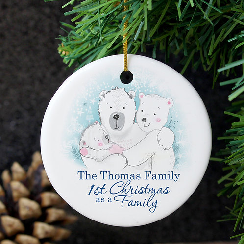 Personalised Polar Bear '1st Christmas As A Family Decoration (PMC)