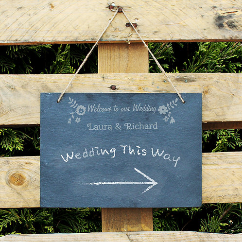 Personalised Wedding Flowers Hanging Large Slate Sign (PMC)