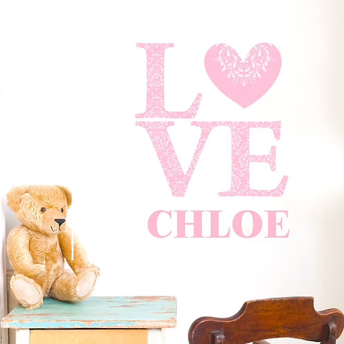 Personalised LOVE Pink Wall Art (PMC)