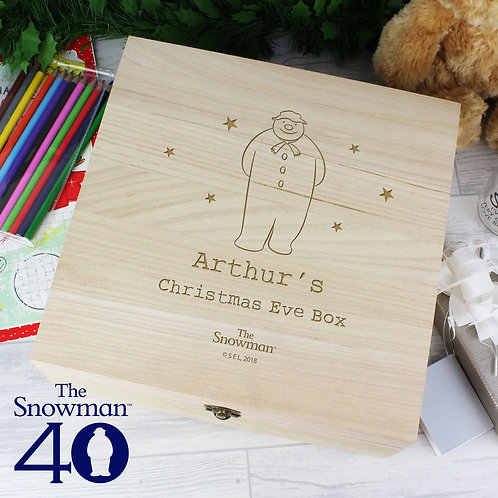 Personalised The Snowman Large Wooden Christmas Eve Box (PMC)