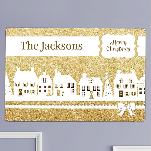 Personalised Festive Village Metal Sign (PMC)