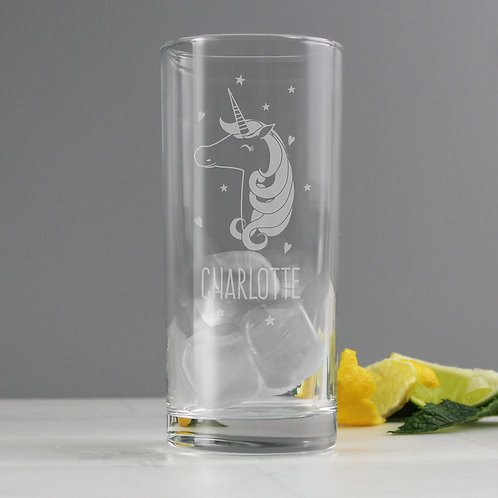 Personalised Unicorn Engraved Hi Ball Glass (PMC)