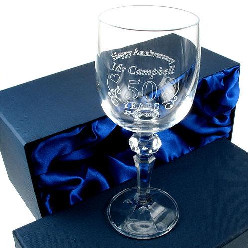 Wedding Anniversary Wine Glass for Him