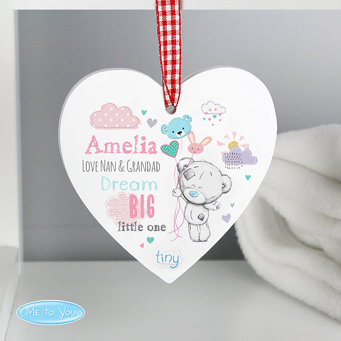 Personalised Tiny Tatty Teddy Dream Big Pink Wooden Heart Decoration (PMC)
