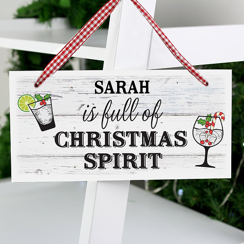 Personalised Christmas Spirit Wooden Sign (PMC)