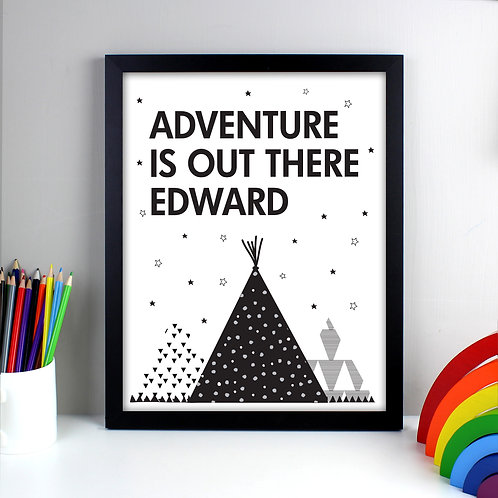 Personalised Adventure Is Out There Black Framed Print (PMC)