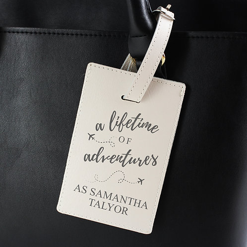 Personalised 'Lifetime of Adventures' Cream Luggage Tag (PMC)