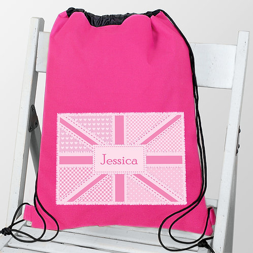 Personalised Pink Patchwork Union Jack Swim & Kit Bag (PMC)