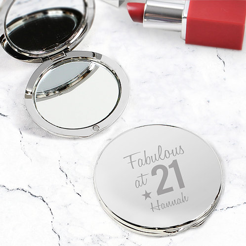 Personalised Fabulous Birthday Big Age Compact Mirror (PMC)