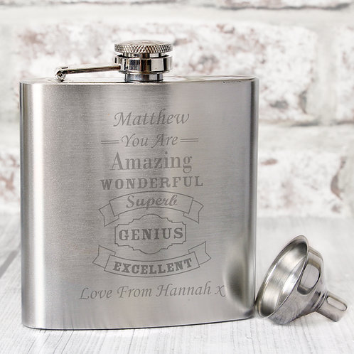 Personalised Vintage Typography Hip Flask (PMC)