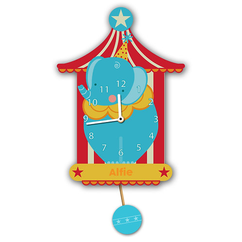 Blue Circus Elephant Wall Clock (PTG)