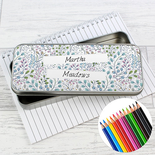 Personalised Botanical Pencil Tin with Pencil Crayons (PMC)