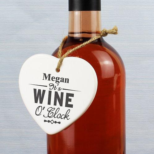 Personalised Wine O'Clock Ceramic Heart (PMC)