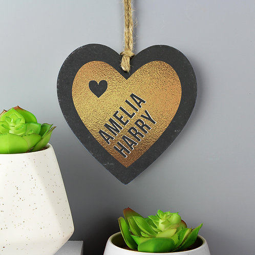 Couples Gold Printed Slate Heart Decoration (PMC)