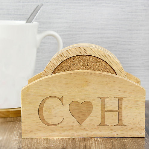 Personalised Monogram Heart Coaster Set (PMC)