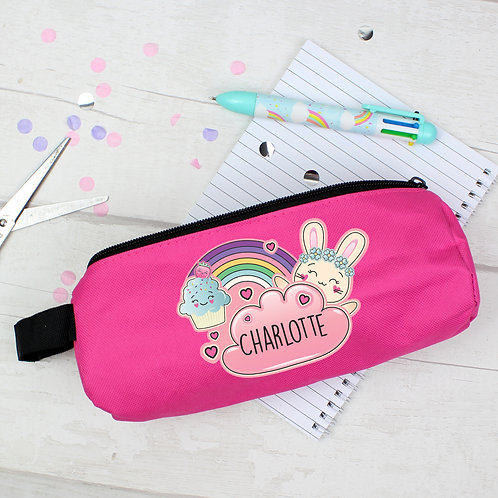 Personalised Cute Bunny Pink Pencil Case (PMC)
