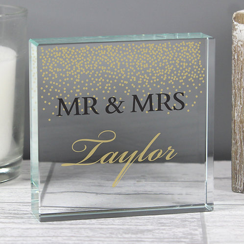 Personalised Gold Confetti Large Crystal Token (PMC)