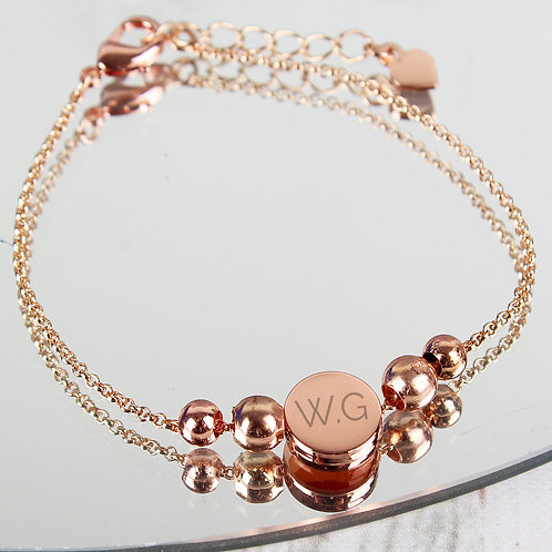 Personalised Rose Gold Tone Initials Disc Bracelet (PMC)