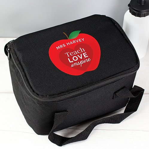 Personalised Teachers Apple Black Lunch Bag (PMC)