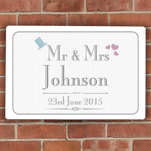Personalised Decorative Wedding Mr & Mrs Plaque (PMC)