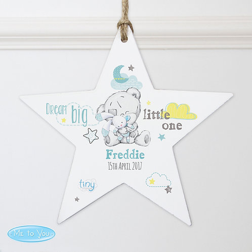 Personalised Tiny Tatty Teddy Dream Big Blue Wooden Star Decoration (PMC)