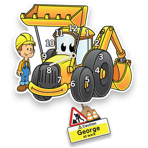 Yellow Digger Boys Wall Clock (PTG)