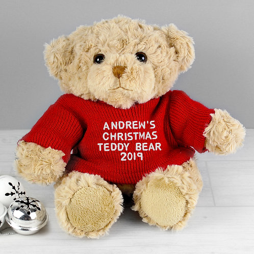 Personalised Christmas Message Teddy Bear in Red Jumper (PMC)