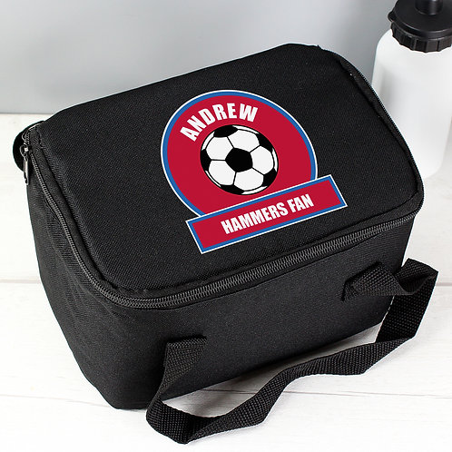 Personalised Claret and Blue Football Fan Lunch Bag (PMC)