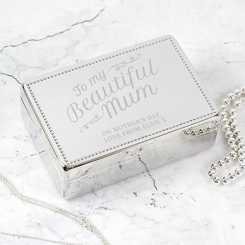 Personalised Beautiful Mum Rectangular Jewellery Box (PMC)