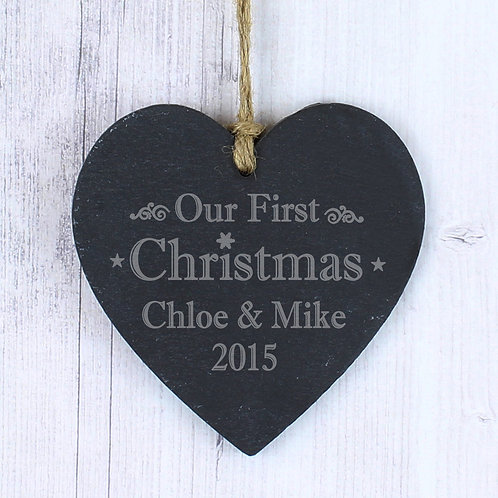 Personalised Our First Christmas Slate Heart Decoration (PMC)