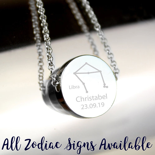 Personalised Libra Zodiac Star Sign Silver Tone Necklace (PMC)
