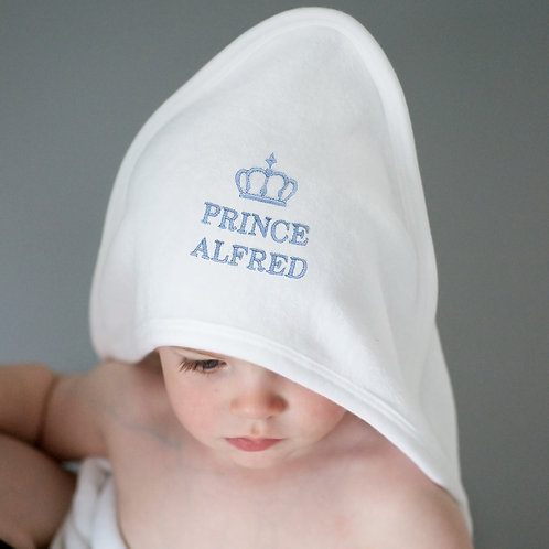 Personalised Blue Prince White Hooded Baby Towel (PMC)