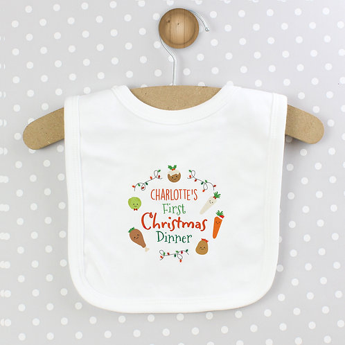 Personalised 'First Christmas Dinner' Bib (PMC)