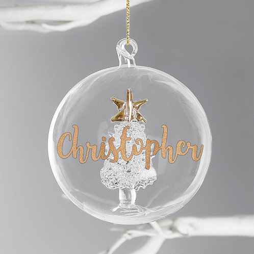 Personalised Gold Glitter Name Only Tree Glass Bauble (PMC)