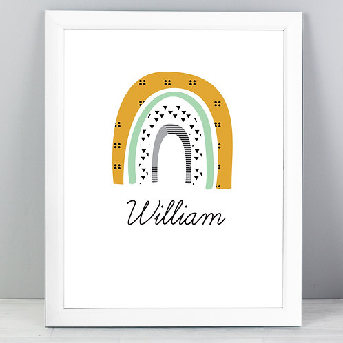 Personalised Mustard & Green Rainbow White Framed Print (PMC)