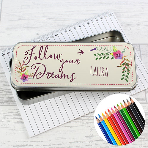 Personalised Dreams Pencil Tin with Pencil Crayons (PMC)