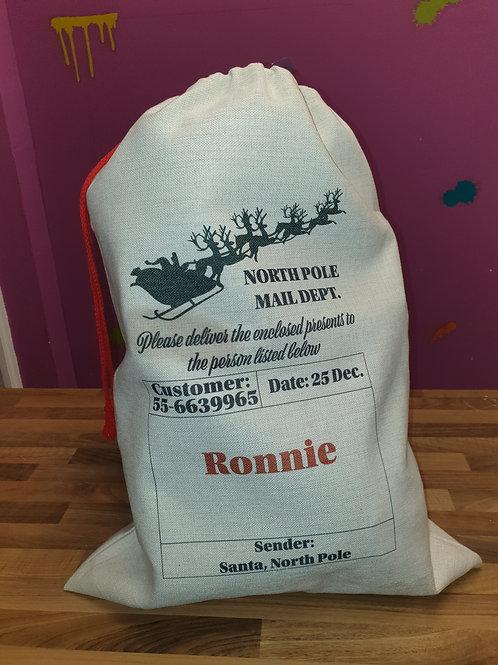 North Pole mail dept. Santa sack