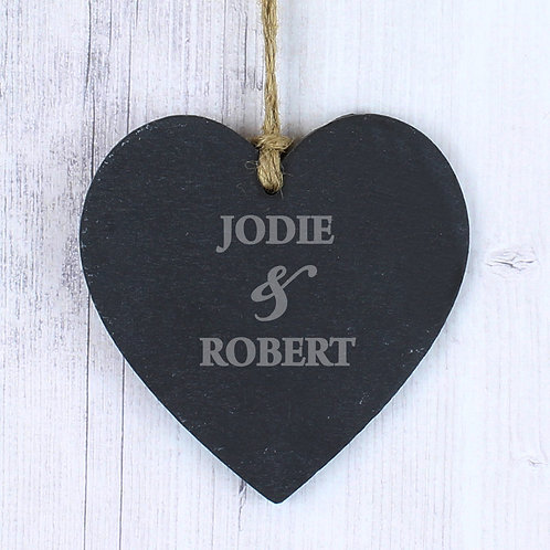 Personalised Couples Slate Heart Decoration (PMC)