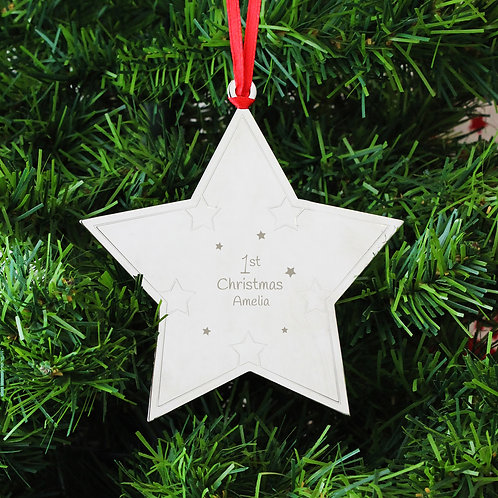 Personalised 1st Christmas Star Tree Decoration (PMC)