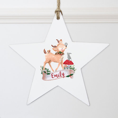 Personalised Festive Fawn Wooden Star Decoration (PMC)