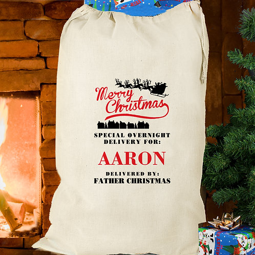 Personalised Merry Christmas Cotton Sack (PMC)