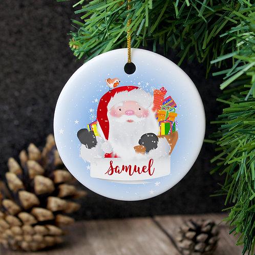 Personalised Santa Claus Round Ceramic Decoration (PMC)